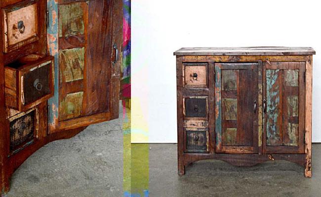 Mobili legno riciclato arredo ecocreativo mobili riciclati for Credenza industriale