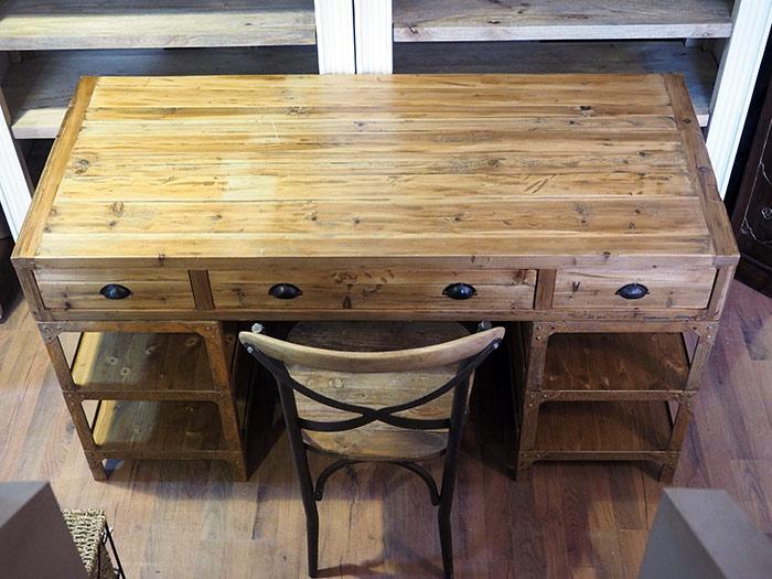 Scrivania industrial vintage ferro legno nuovimondi for Scrivania legno