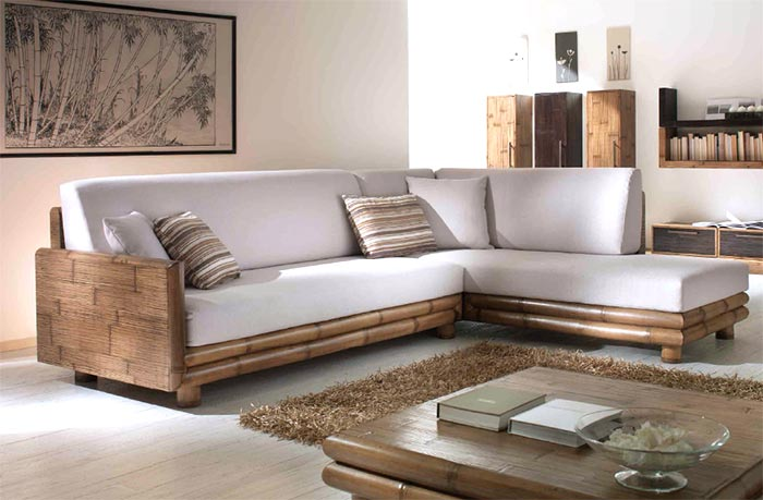 Divani etnici stile moderno in legno e bambu for Mobili per divani