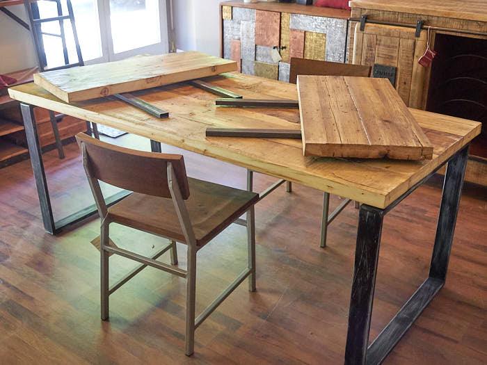 Tavolo industrial allungabile legno e ferro offerta convenienza