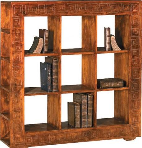 Libreria etnica a cubi legno massello di noce indiano for Mobile libreria in offerta