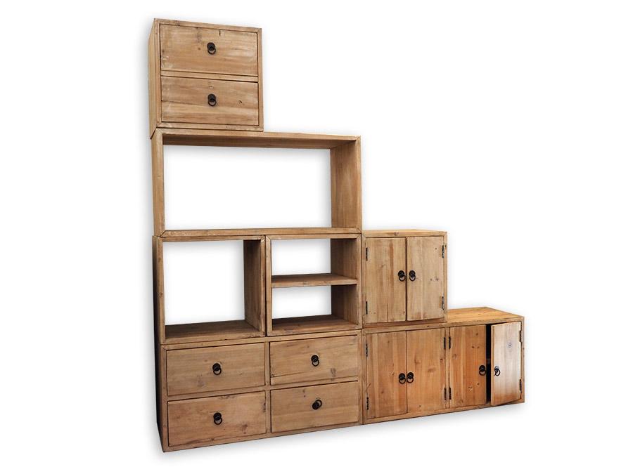 Mobile componibile legno riciclato nuovimondi
