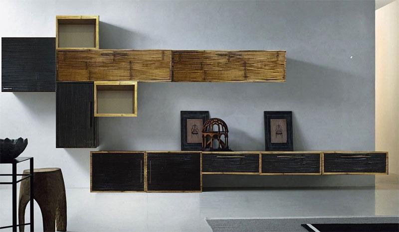 Soggiorno etnico moderno in legno e crash bambu - nuovimondi