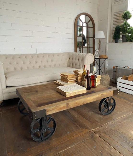tavolino stile industrial con ruote nuovimondi