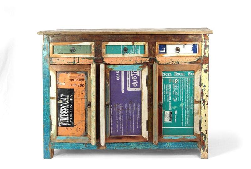 Credenza colorata legno riciclato offerta on line prezzo for Credenza offerta