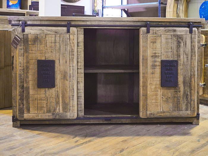 Mobile credenza industrial chic legno massello e ferro for Credenza bassa maison du monde