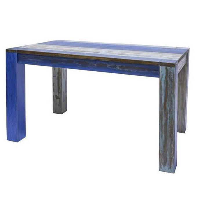 Tavolo Stile Marinaio Blue Decapato In Legno Massello