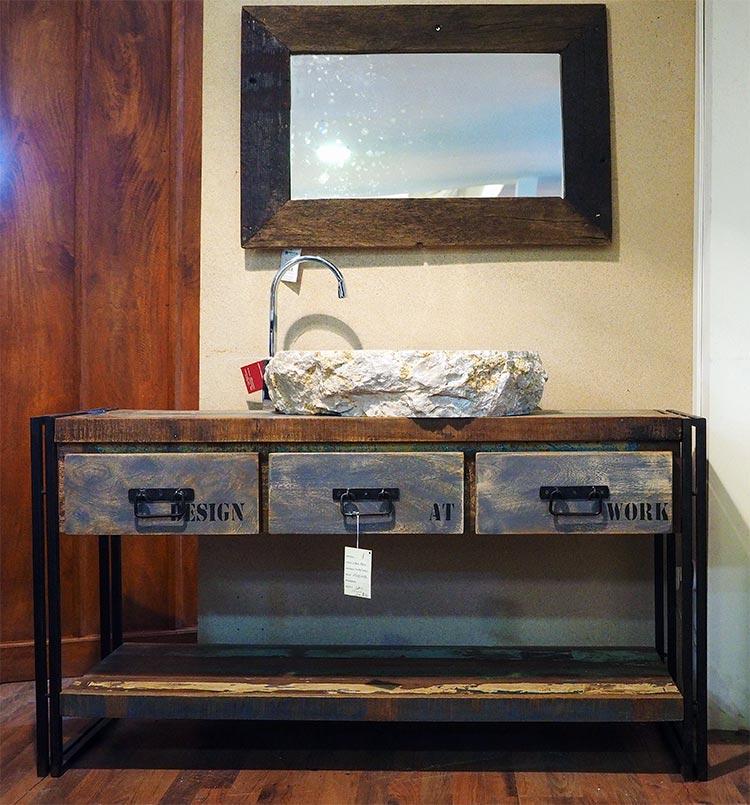 Mobile bagno stile industrial offerta prezzo on line legno for Vendita bagni on line