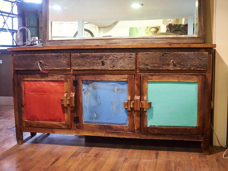 Credenza wood stile vintage on line offerta prezzo legno for Mobili in offerta on line