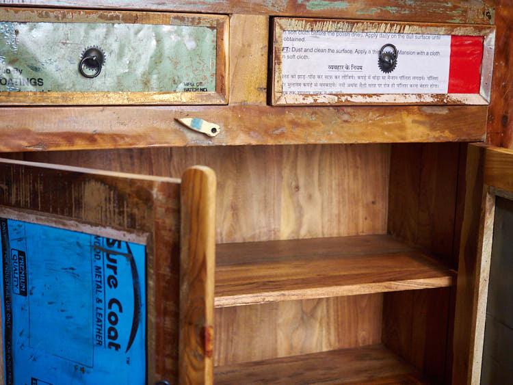 Credenza workshop vintage legno riciclato prezzi on line for Mobili offerta on line
