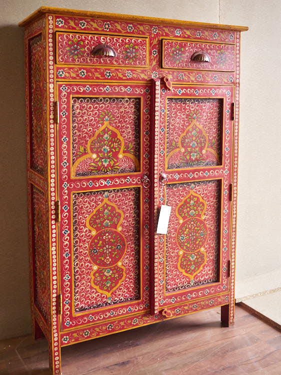 Credenza rajasthan colorata offerta on line india legno for Consolle colorata