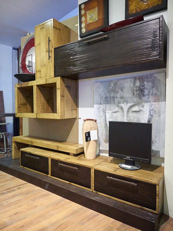 Parete soggiorno crash bambu offerta online prezzo outlet stile etnico