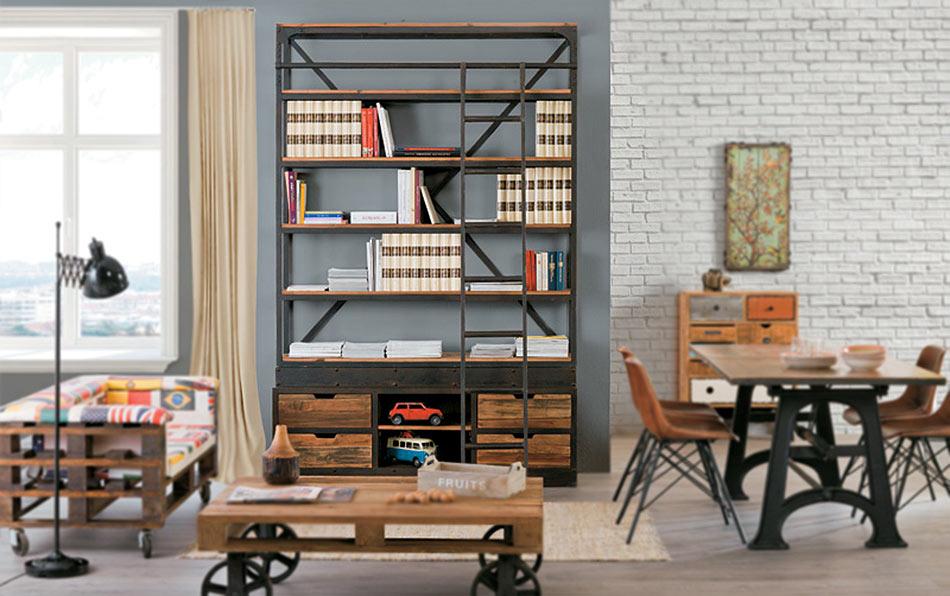 Librerie stile industriale prezzi on line legno ferro for Mobili di design industriale