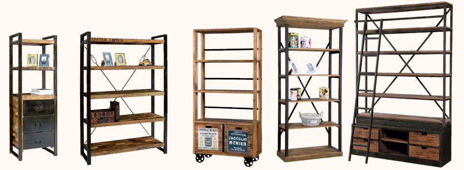 Librerie stile industriale prezzi on line legno ferro - Librerie mobili prezzi ...