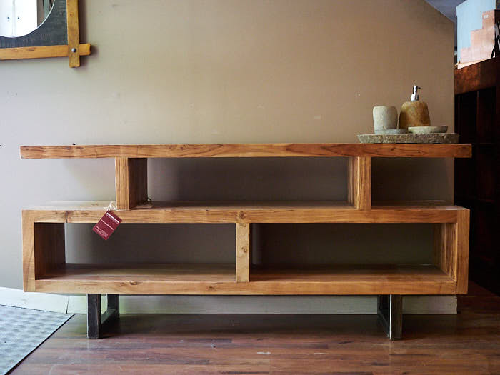 Mobile basso credenza zen legno massello di olmo - Cucine etniche arredamento ...