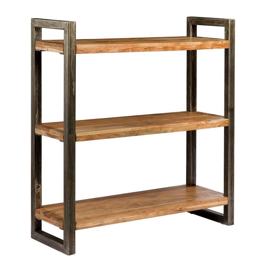 Libreria legno e ferro stile industrial offerta prezzo outlet for Scaffali libreria in legno