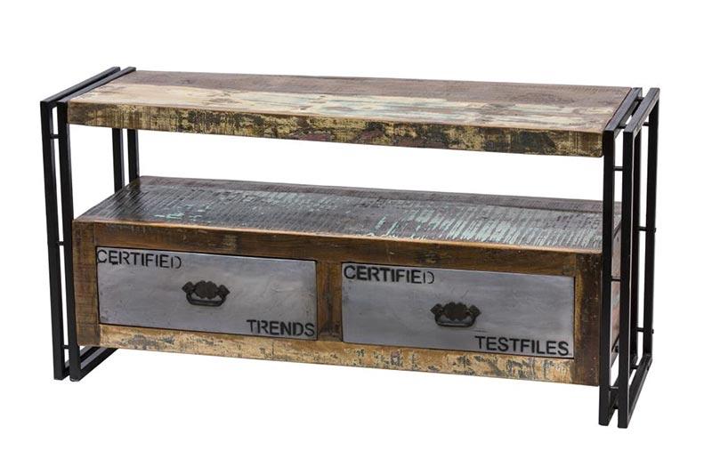 Mobile tv industriale mobiletto basso legno e ferro prezzo for Scrivania stile industriale