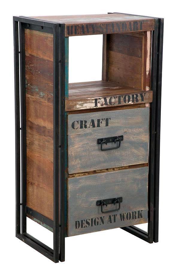 Cassettiera industrial linea caribbean legno riciclato e ferro for Cassettiera industriale vintage