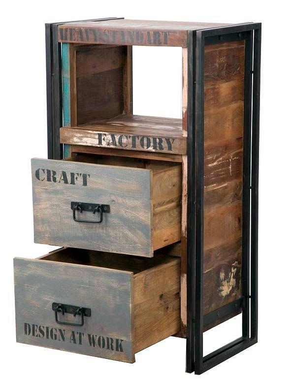 cassettiera industrial linea caribbean legno riciclato e ferro