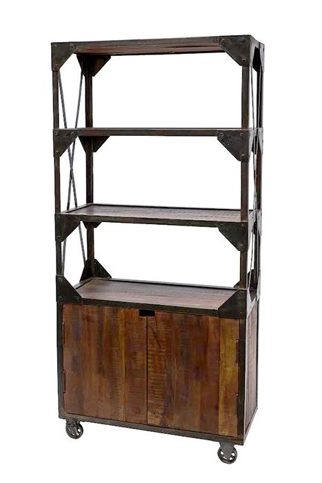 Libreria industry legno e ferro con ruote offerta prezzo for Mobili offerta on line