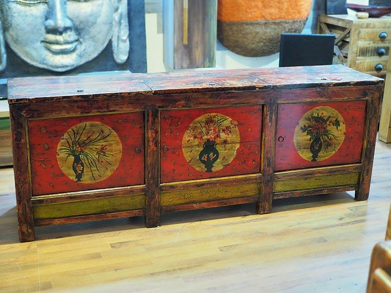 Credenza etnica dipinta a mano fine 800 colorata legno for Consolle colorata