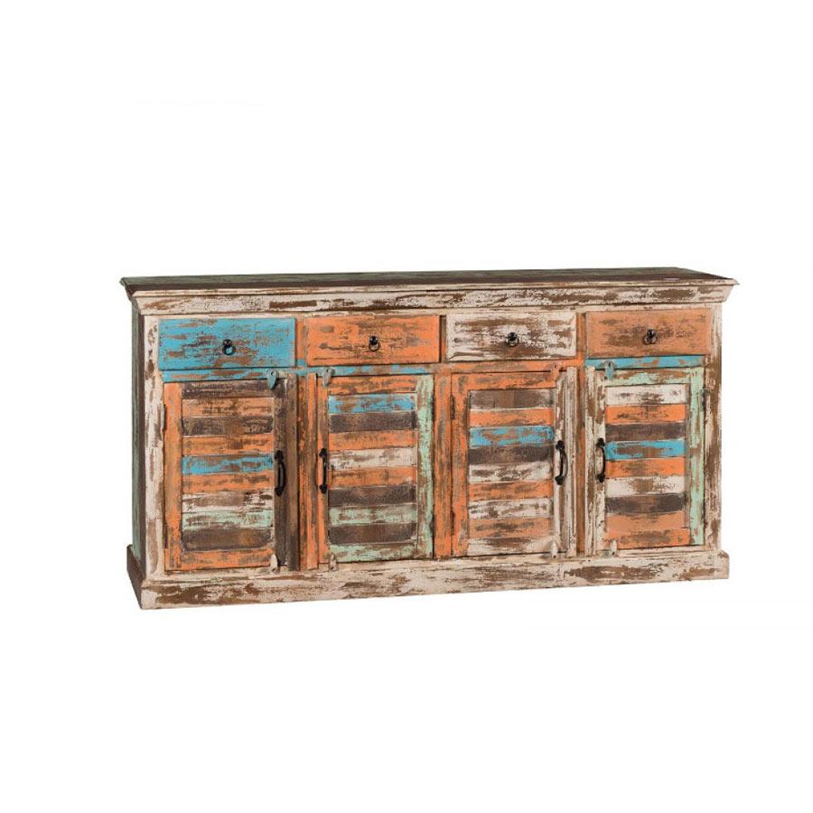 Credenza colorata legno riciclato vendita prezzo outlet on for Credenza colorata