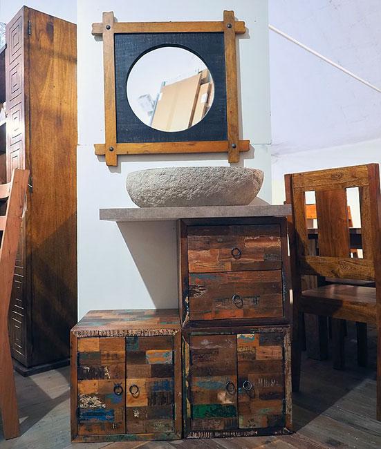 Mobile bagno cubi stile vintage arredo bagno on line prezzo - Mobile bagno etnico ...