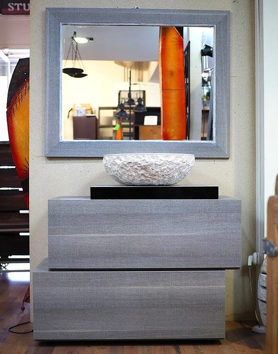 Mobile bagno grigio minimal in offerta compreso di specchio for Specchio bagno grigio