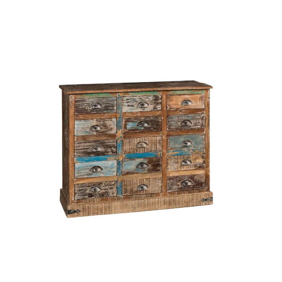 Cassettiera colorata legno massello riciclato offerta for Consolle colorata