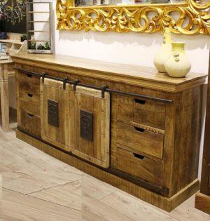 credenza industrial legno e ferro