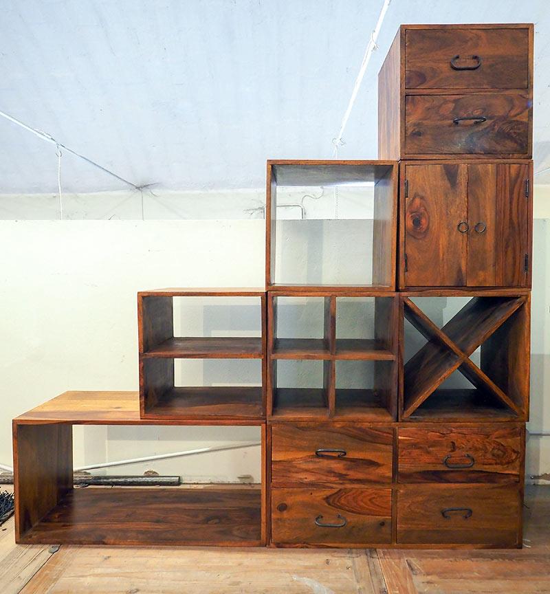 Moduli componibili scala legno massello di noce in offerta for Cubi arredamento componibili