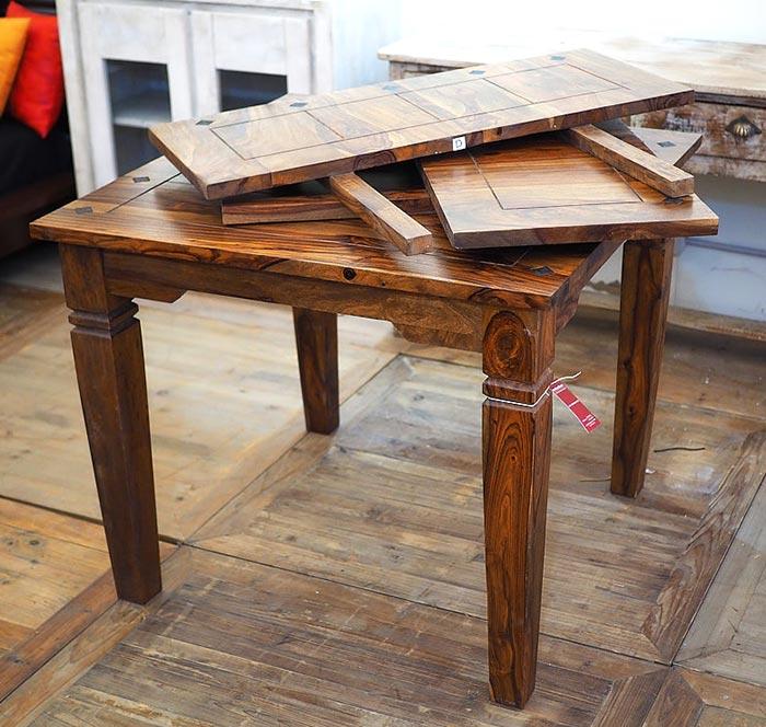 Tavolo indiano etnico allungabile in legno massello di noce for Tavolo di legno allungabile