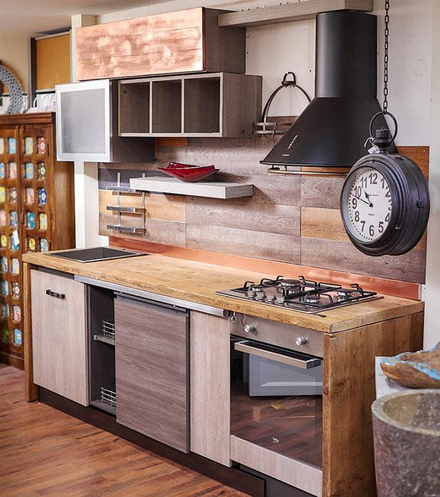 Cucina stile industrial in offerta top in vero legno massello di rovere - Cucine legno grezzo ...