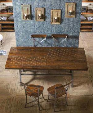 tavolo legno e ferro industrial