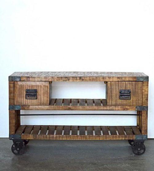 mobiletto legno e ferro ruote