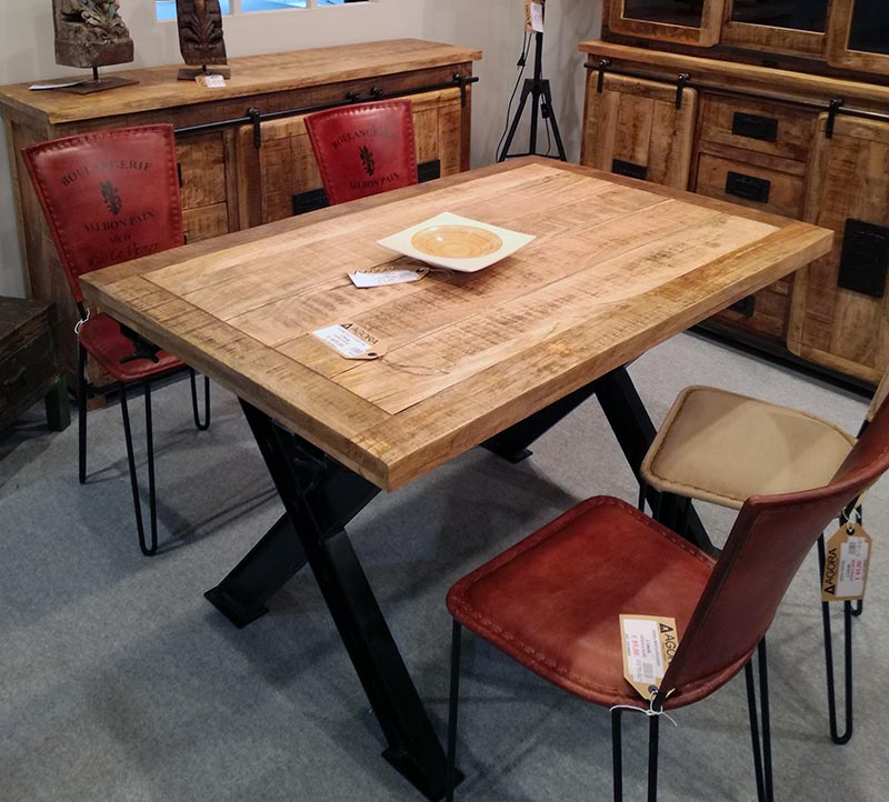 tavolo legno ferro allungabile stile industrial chic