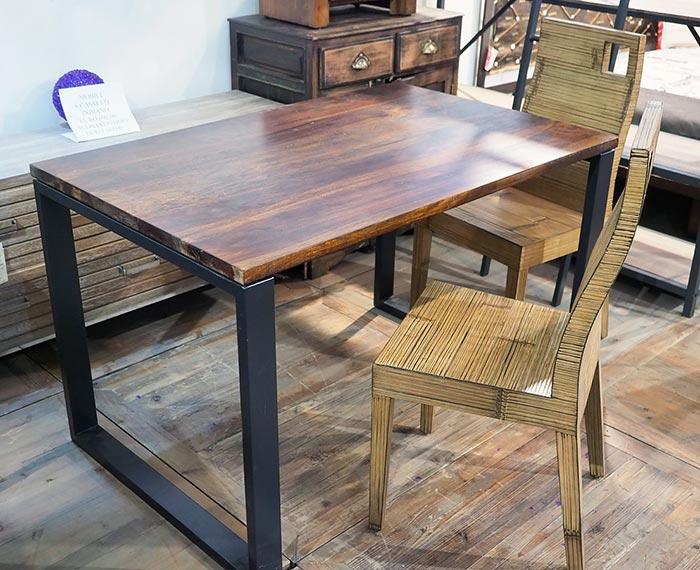Set pranzo in teak e acciaio (tavolo + 6 sedie + carrello)