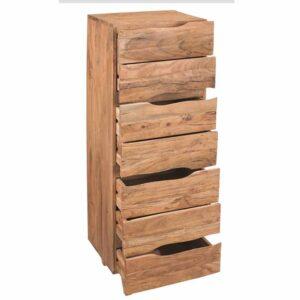 Cassettiera alta in legno apertura