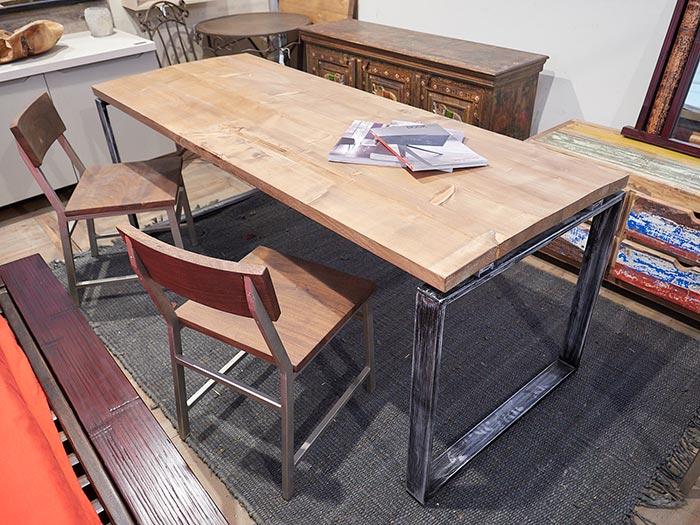 Tavolo industrial allungabile ferro e legno a prezzo outlet for Outlet tavoli design