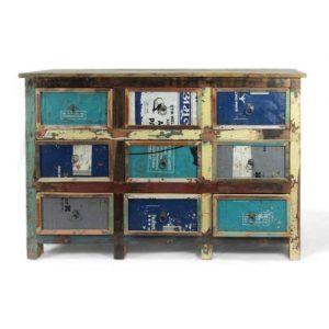 Mobile 9 cassetti legno riciclato