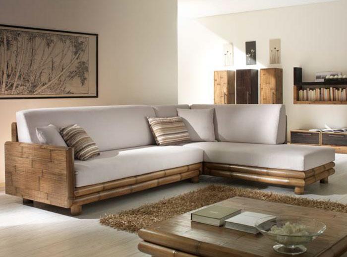 divano angolo bambu