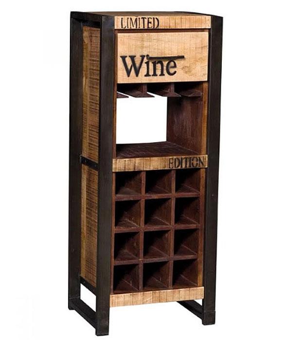 Mobile Portabottiglie In Legno.Mobile Bar In Stile Vintage Legno Ferro Con Vani Porta Bottiglie E