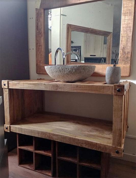 Mobile bagno stile industrial offerta prezzo on line legno for Mobilia mobili bagno