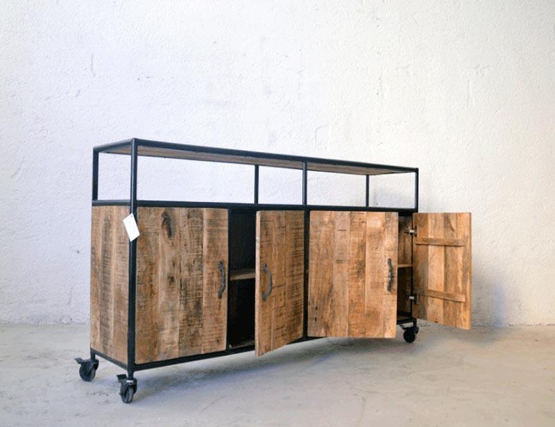Credenza Con Rotelle : Credenza industrial vintage ruote legno massello di mango prezzo