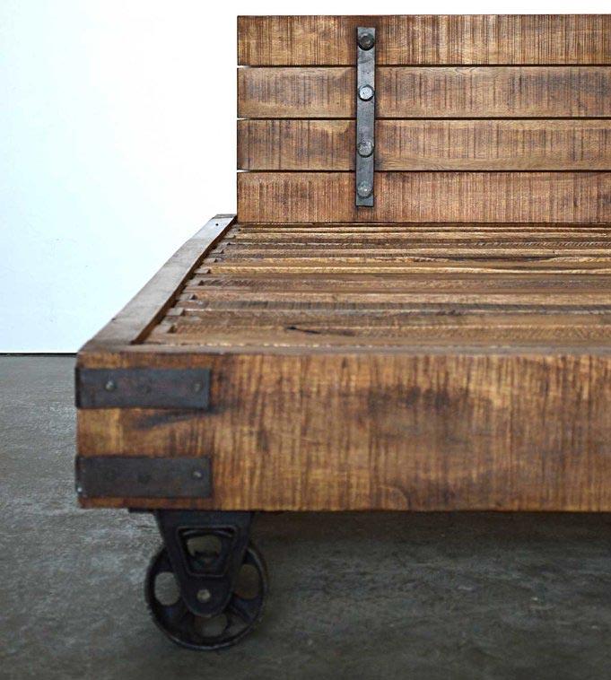 Letto industrial matrimoniale con ruote - legno massello di mago ...