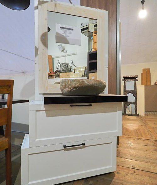 Mobile per bagno shabby chic compreso lavello e specchio ...
