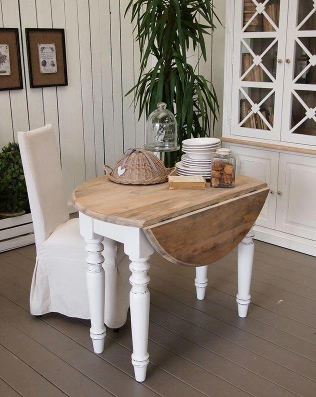 Tavolo rotondo legno massello - nuovimondi stile shabby