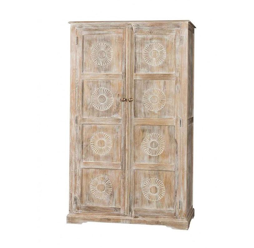 Armadio etnico chiaro in legno massello prezzo outlet