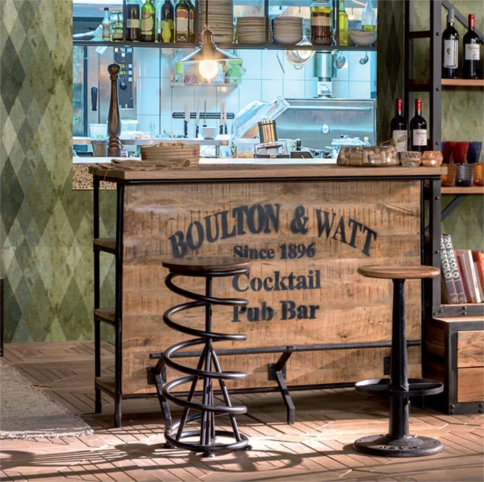 Bancone bar vintage legno e ferro prezzo outlet offerta for Arredamento da bar