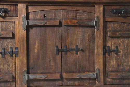 credenza legno massello e ferro